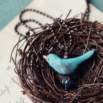 turquoise bird necklace