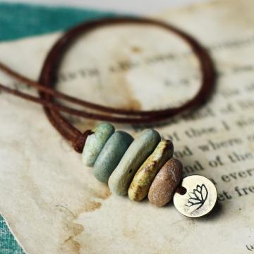 lotus cairn- ceramic beach stone stack necklace