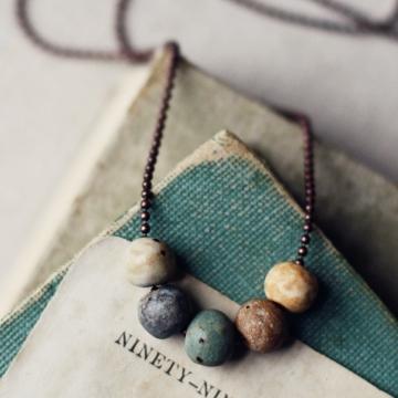 adventure- rustic pebble necklace